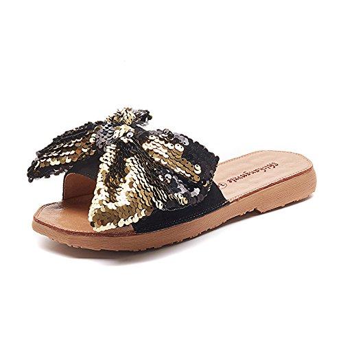 morbido pantofole in fondo sono outdoor alla yalanshop con Drag paillettes Thirty six fondo moda piatto papillon PdwqPC8