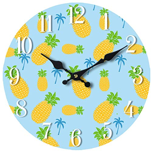 - Wall Clock Glass Pineapple Pattern Decorative 13 Inch Theme Perfect for Kitchen Bathroom Office Rustic Battery Operated Clocks Great Theme for Bedroom Cute Decoration Ticking Fruit