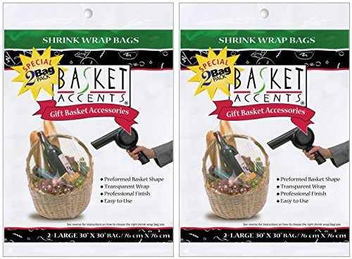 Photo Frog Basket Accents Shrink Wrap Bags (2 Per Package) – Clear