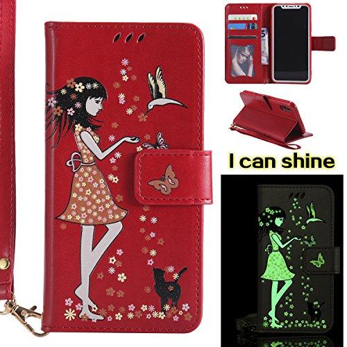 Samsung Galaxy A3 (2017) Funda de Cuero Tipo de Cartera Efecto Luminoso KaseHom [Protector de pantalla HD gratis] Flores de Hada Chica Pájaros Mariposa de Gato Patrón en relieve Diseño Flip Magnético  rojo