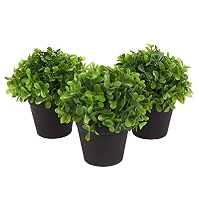 Juvale Fake Plant Decoration - Set of 3 Potted Artificial House Plants - Fake Plant Decor, Green Decorative Small Artificial Plants, for Home Décor Indoor, with Plastic Pots