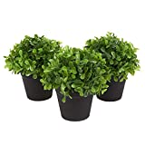 Juvale Fake Plant Decoration - Set of 3 Potted Artificial House Plants - Fake Plant Decor, Green Decorative Small Artificial Plants, for Home DecorIndoor, with Black Plastic Pots - 5 x 5.2 x 5 inches