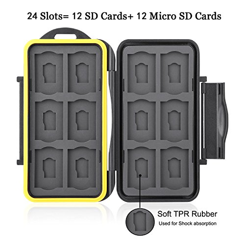 GoFriend Water-Resistant 24 Slots Memory Card Carrying Cases Professional Anti-shock Holder Storage SD SDHC SDXC and Micro SD TF Cards Protector Cover With Carabiner & Card Reader by GoFriend (Image #2)