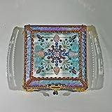Jewel Encrusted 5X5 COPPER Glass Treasure Jewelry Box Swarovski Crystals USA made