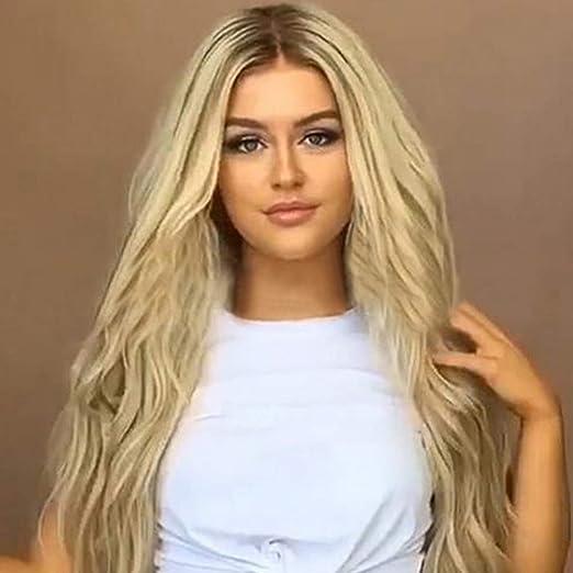 Peluca de pelo humano natural YEMOCILE, largo, color gris oscuro, resistente al calor: Amazon.es: Belleza