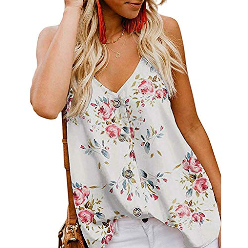 Large Ships Floral Bow (Xturfuo Women's Print Vest V-Neck Sling T-Shirt Summer Sleeveless Casual Blouse White)