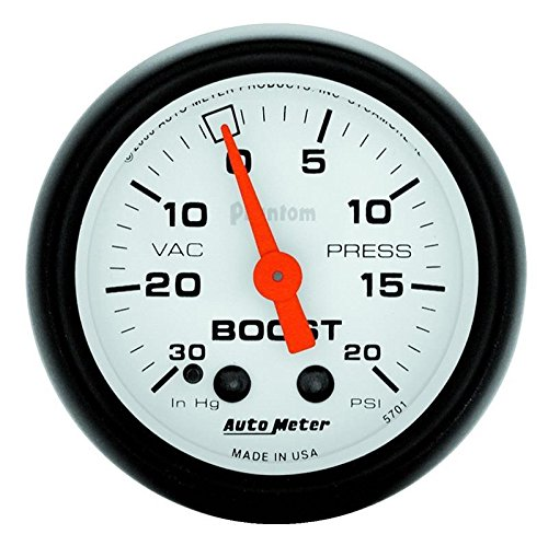Autometer 5701 Boost/Vacuum 2-1/16 inch, 30 inch HG/ 20 PSI, Phantom by Auto Meter