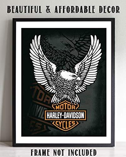 Harley Davidson Eagle Emblem- Classic HD Vintage Print- 8 x10