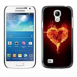 TopCaseStore / la caja del caucho duro de la cubierta de protección de la piel - Fire heart - Samsung Galaxy S4 Mini i9190 MINI VERSION!
