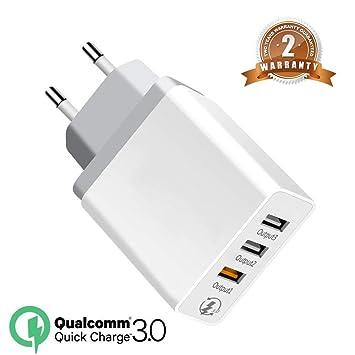 Quick Charge 30W Cargador 3.0 Cargador de Viaje Enchufe Cargador USB Carga Rápida con 3 Puertos carga rápida Adaptador de Corriente para iPhone x 8 7 ...