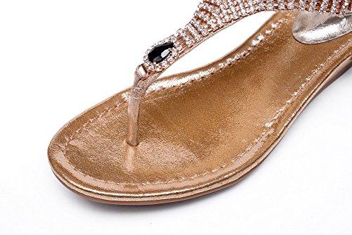 AllhqFashion Mujeres Hebilla Mini Tacón Cuero Sólido Puntera Dividida Sandalia Gold
