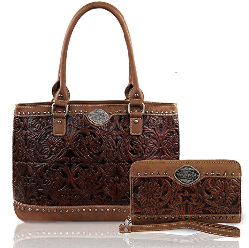 new-trinity-ranch-floral-tooled-leather-tote-wristlet-wallet-brown