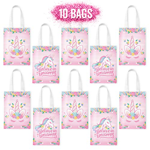 xo, Fetti Unicorn Party Bags, Gift Favor Bags, Goodie Bags – 10 Pack – Reusable Tote Bag, Birthday Party Supplies…