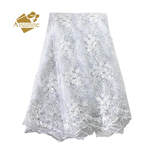 Aisunne 5 Yards African Lace Fabrics Classics Nigerian French Lace Fabric with Fashion Rhinestones and Embroidered Beading Flower for Wedding Party Dresses (White) by Aisunne
