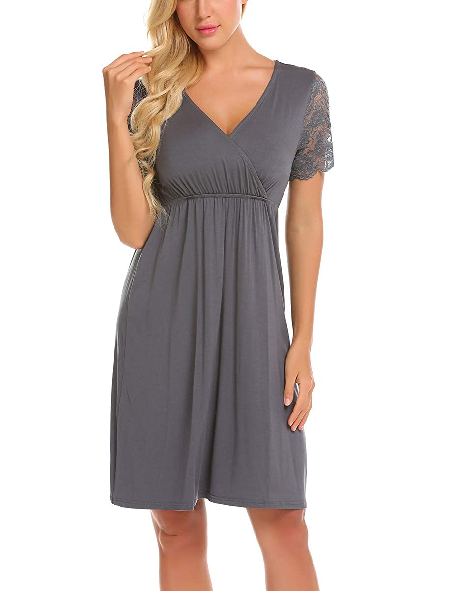 Ekouaer Womens Labor//delivery//Nursing Hospital Gown Maternity Lace Short Sleeve Sleep Dress