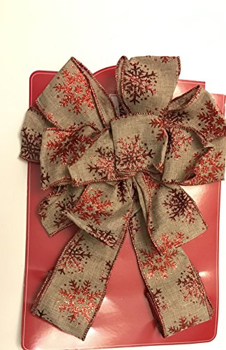 trim-a-tree-topper-bow-wired-beige-with-red-snowflake-trim