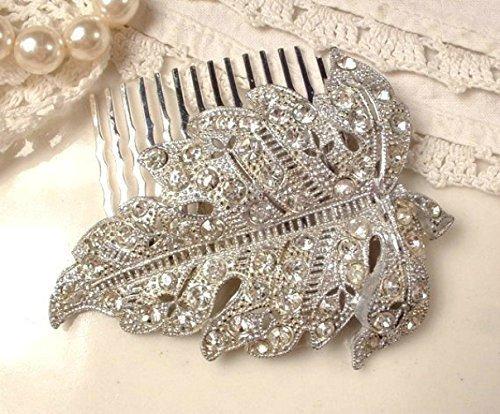 Antique Art Deco Leaf Bridal Hair Comb, Art Nouveau Hair Accessory, Vintage Rhinestone Silver Autumn Fall Wedding, 1920s Dress Clip to (Gatsby 1920s Dress)