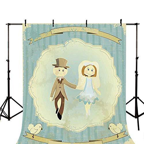 (Wedding Decorations Stylish Backdrop,Vintage Retro Design Bride Groom Pigeons Ribbon Grunge for Photography,118