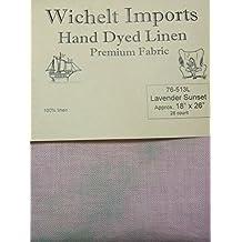 "Wichelt Hand Dyed 100% Linen Lavender Sunset 28 Ct 18"" x 26"" Cross Stitch Fabric"