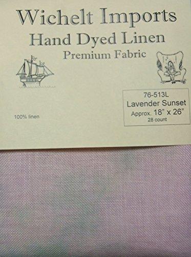 Sunset Linen - Wichelt Hand Dyed 100% Linen Lavender Sunset 28 Ct 18