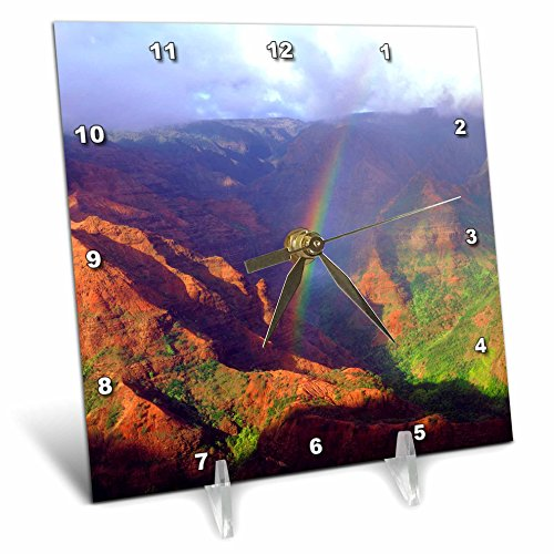 3dRose USA, Hawaii, Kauai. a Rainbow Over Waimea Canyon. - Desk Clock, 6 by 6-Inch (dc_209650_1) by 3dRose