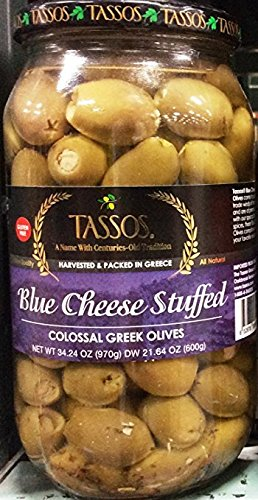(Tassos Blue Cheese Stuffed Colossal Greek Olives Pack In Greece)