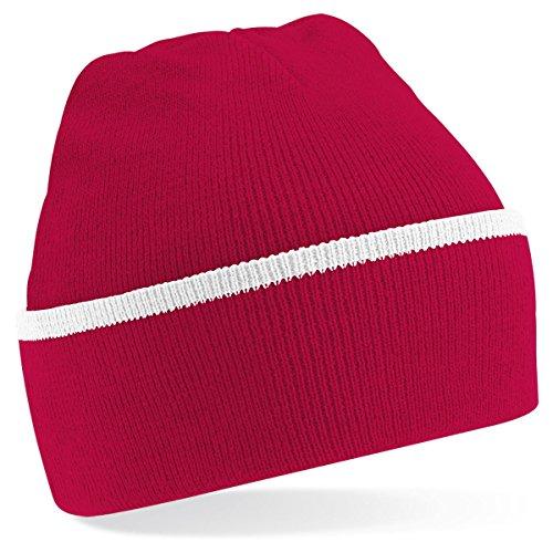 Beechfield - Gorro de punto para invierno estilo Beanie unisex Multicolore - Rouge/blanc