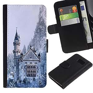 LASTONE PHONE CASE / Lujo Billetera de Cuero Caso del tirón Titular de la tarjeta Flip Carcasa Funda para Samsung Galaxy S6 SM-G920 / Architecture Snowy Winter Castle