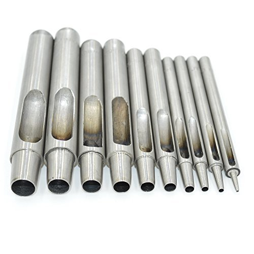 Aiskaer 10-piece Stainless Steel Hollow Leather Punch tools(1mm to10mm Punch tools set) Stainless Steel Punch