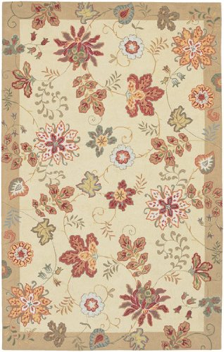 Diva At Home 2' x 2.75' Fall Blooms Tan, Khaki and Rust Hand Hooked Wool Area Throw Rug