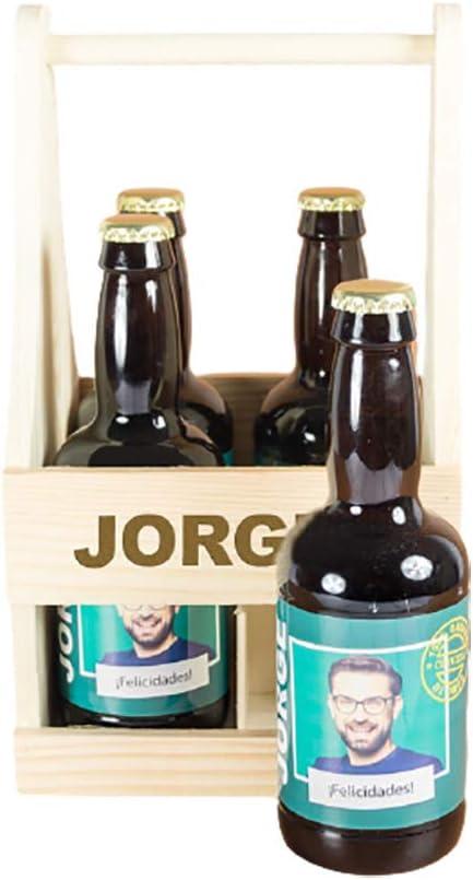 Pack de cervezas personalizadas con foto, nombre y dedicatoria