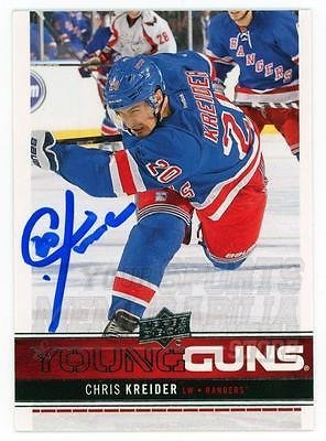 Chris Kreider New York Rangers Signed Autographed Young Guns Rookie UD Card 83954ab99