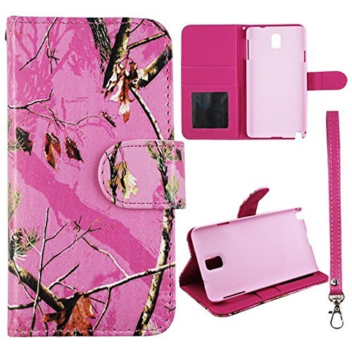 Flip Wallet Pink Mapple Camo Pine Samsung Galaxy Note 3 III N9000 Leather Case With ID Pouch Case
