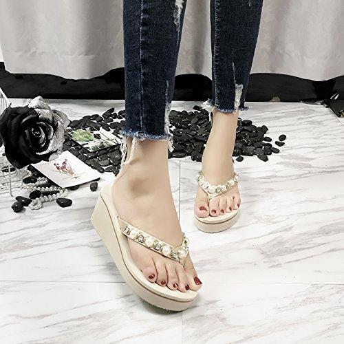 Arrastre playa hill Sandalias zapatillas AJUNR con elegante suelte slip 36 Transpirable 36 tonos bizcocho zapatos Moda beige grueso y 8cm de de la palabra zapatillas anti TwTxRpI