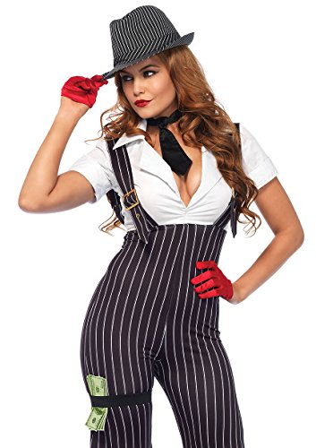 Leg Avenue Women's Brass Knuckle Mafia Gangster Babe Costume, Black/White Large