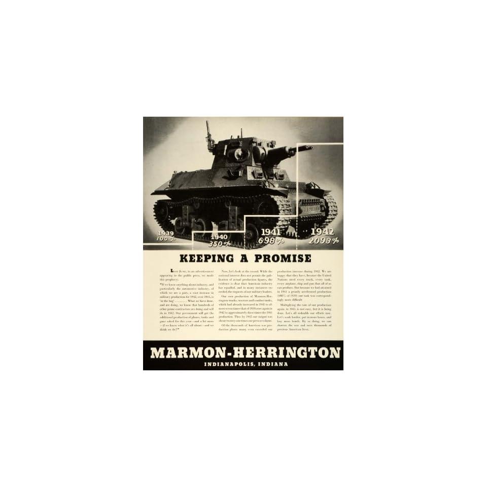 1943 Ad Marmon Herrington WWII War Production Army Combat Tanks Tractors Trucks   Original Print Ad