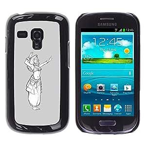 FlareStar Colour Printing Grey White Princess Sketch White Girl cáscara Funda Case Caso de plástico para Samsung Galaxy S3 III MINI (NOT FOR S3!!!) / i8190 / i8190N
