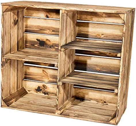 77x68x35cm Design Bücherregal aus Holz mit drei geflammten Trennbretter Neues