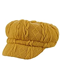 Gemvie Women Ladies Cotton Knitted Vintage Baker Boy Cap Autumn Winter 8 Panel Newsboy Cap