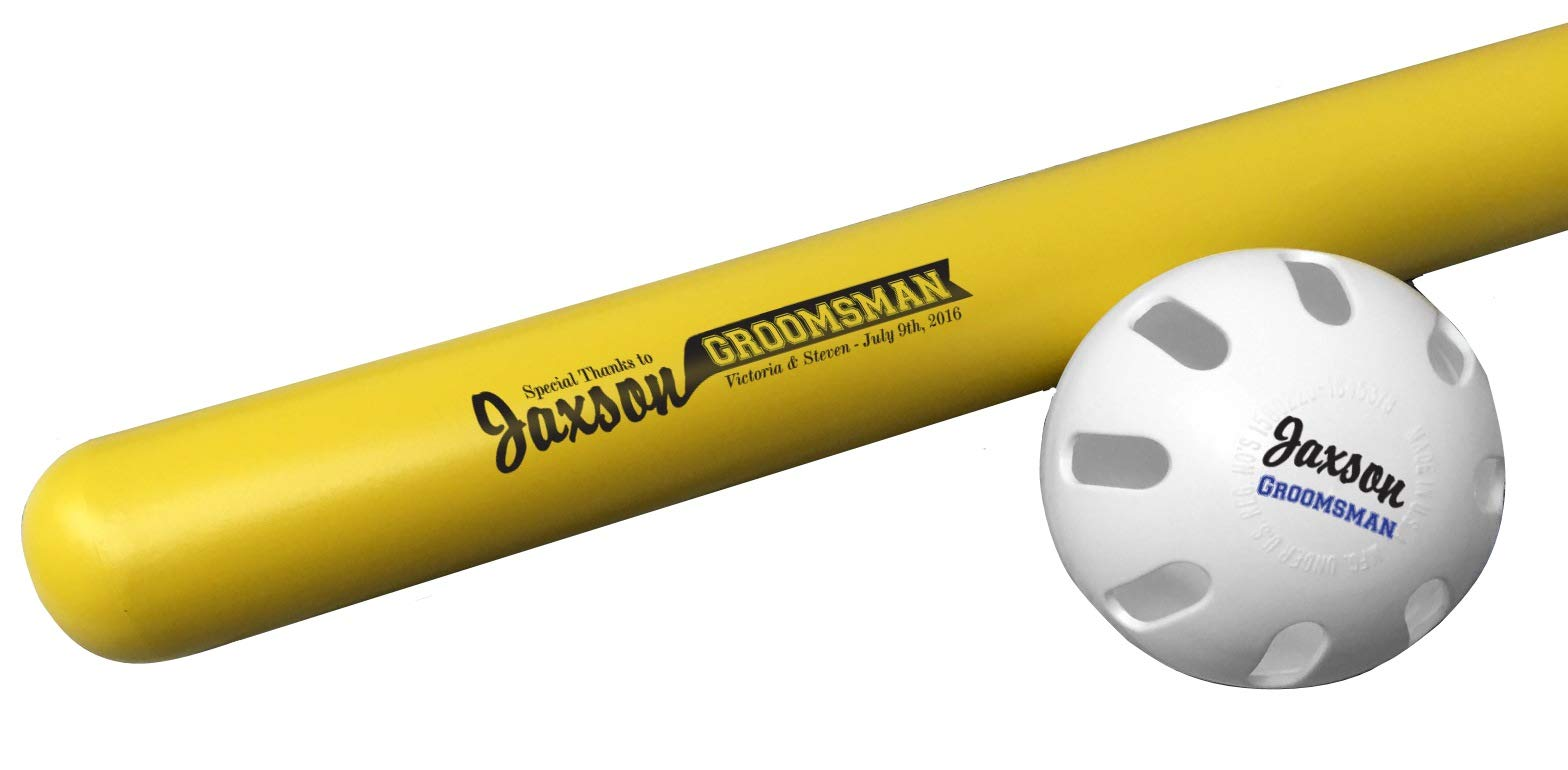 Tiger Tail Sports Personalized Wiffle Bat & Ball Combo Gift (Groomsman Design) by Tiger Tail Sports