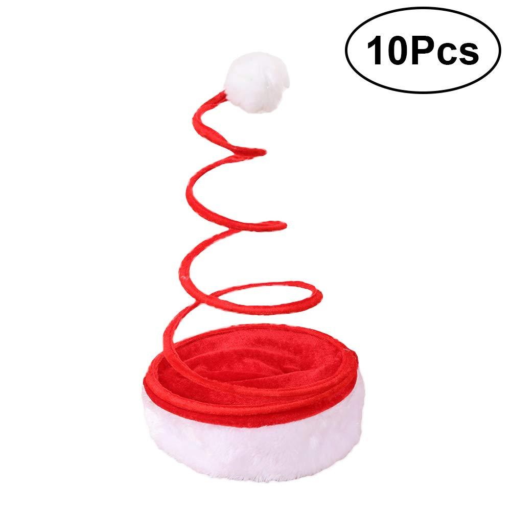 BESTOYARD Cappelli Babbo Natale Cappelli Natale Cappelli Diverdeenti per Adulti e Bambini 10 Pezzi (Rosso)