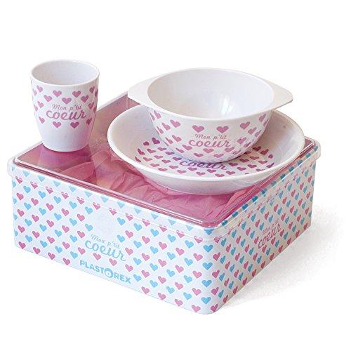 plastorex Set de Vaisselle Mé lamine Blanc Dé cor Petits Cœ urs Roses 9293 54