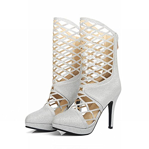 MissSaSa Damen high heel Pointed Toe Plateau hollow out Sommer Halbstiefel/Pumps Silber