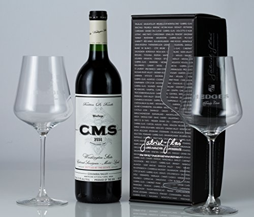 Hedges Family Estate Washington Red and Glasses Gift Set with 2 etched Gabriel Glas glasses, 1 X 750 mL