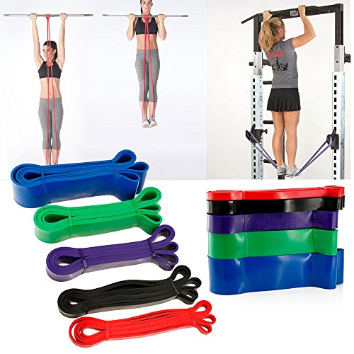 Simply Silver - - 5pcs Pull Up Bands Resistance Loop Power Gym Fitness Exercise Yoga Strength by Simply Silver