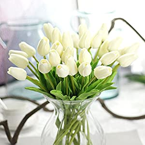 10 PCS Beautiful PU Artificial Tulip Flowers with Leaves for Wedding Bouquet Decoration Ivory 29