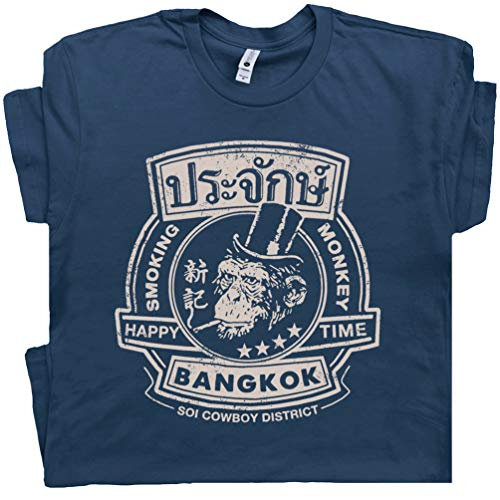 M - Bangkok Thailand T Shirt Vintage Famous Bar Tee Beastie Pub Boys Hangover Funny Cool Movie Graphic Blue ()