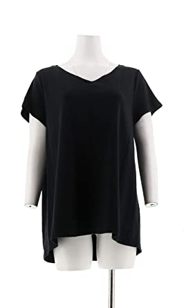 53431283d8a Isaac Mizrahi Essentials Pima Cotton V-Neck Tunic Hi-Lo Hem Black L NEW