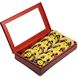 Emoji Faces Smiley White and Dark Chocolate Covered Pretzel Twist Brown Chocolate and Yellow Variety Red box,16 count