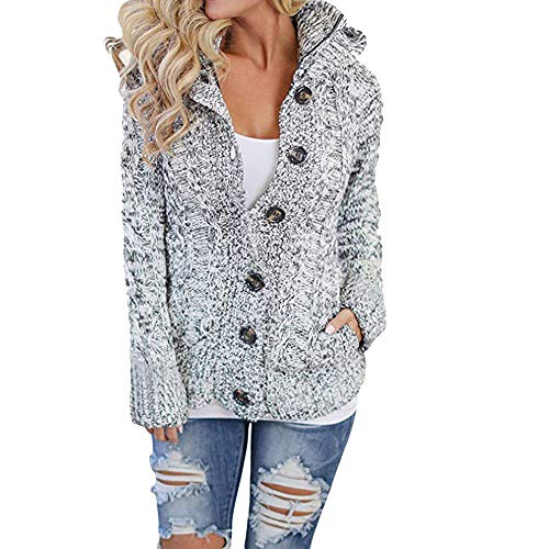 Orangeskycn Womens Cardigan Hooded Cable Knit Button Down Outwear Sweater with Pocket